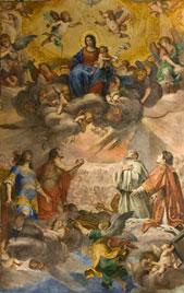 Particolare del ciclo di affreschi rappresentante la Madonna incoronata Regina di Genova decorato da Giovanni Battista Carlone (1653-55)