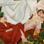 Fausto Pirandello, Composizione (Siesta rustica) 1924-1926-Collezione Giuseppe Iannaccone, Milano